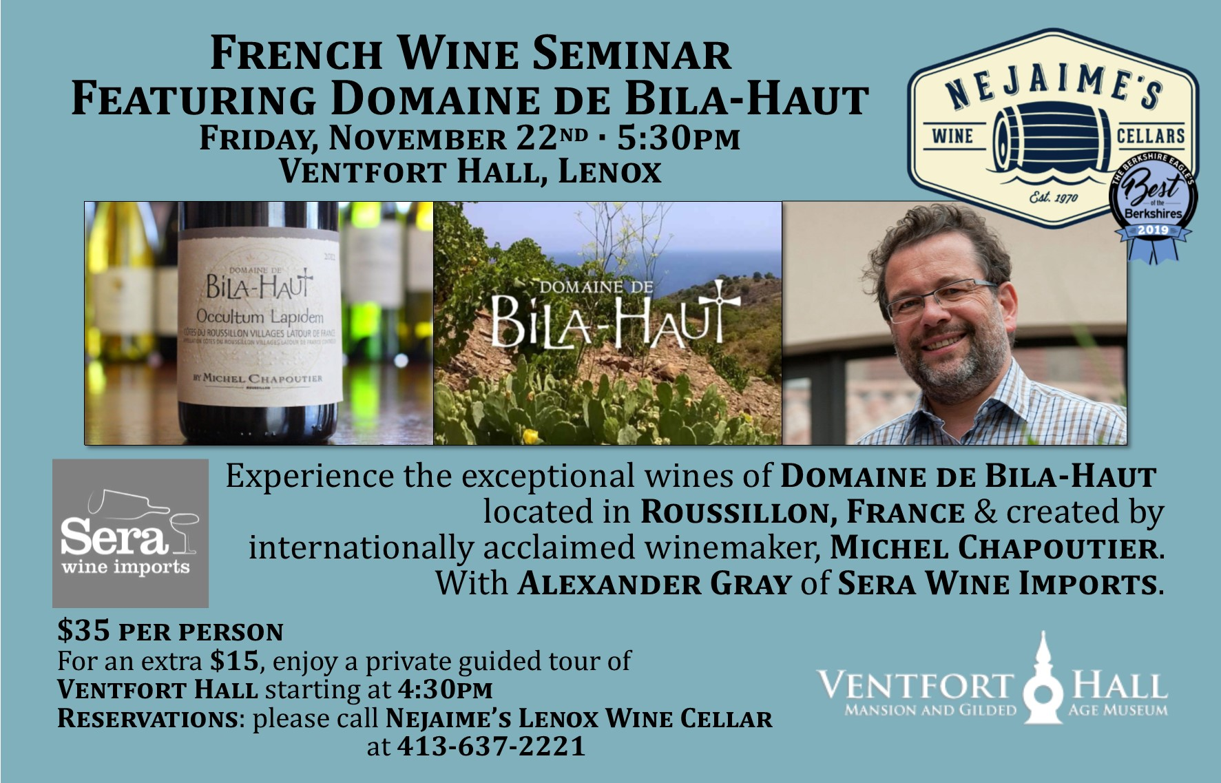 French Wine Seminar Featuring Domaine de Bila-Haut Presented by Nejaime's