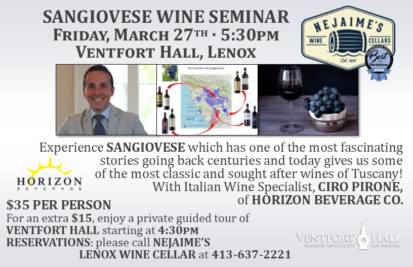 CANCELLED - Sangiovese Wine Seminar Presented by Nejaime's